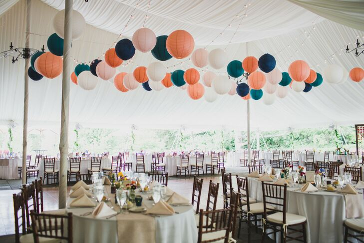 Tented Neutral Reception Space with Colorful Paper Lanterns