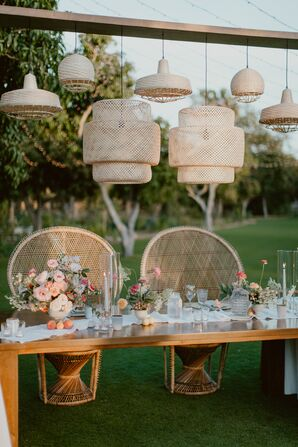 Modern Sweetheart Table with Hanging Lanterns