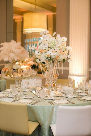 Elegant Ivory Centerpieces and Mint Tablecloths