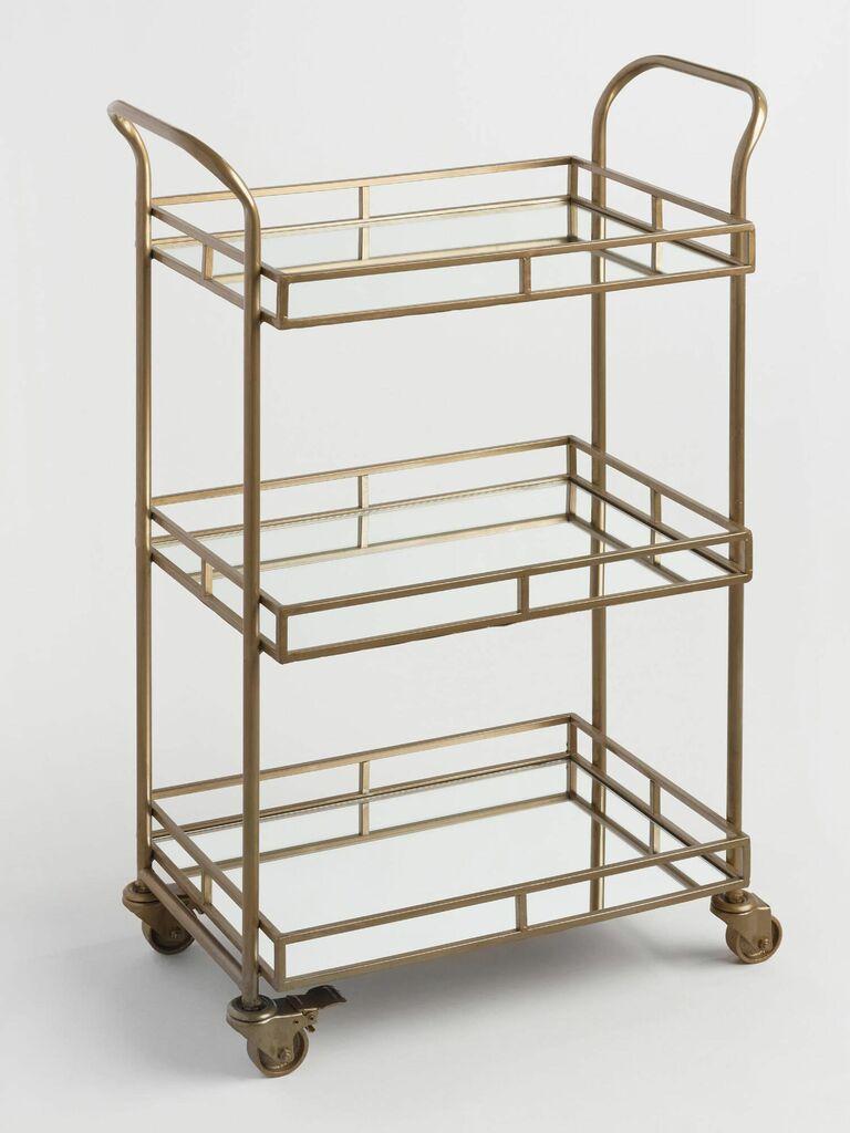 gold bar cart 17th anniversary gift