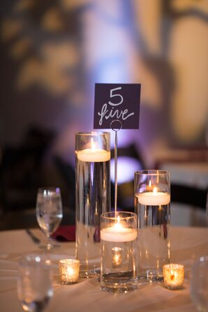 Modern Table Number with Tall Floating Candles