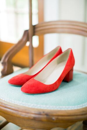 Red Suede Block Heels