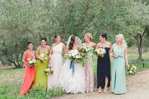 Bright, Mismatched Bridesmaid Dresses