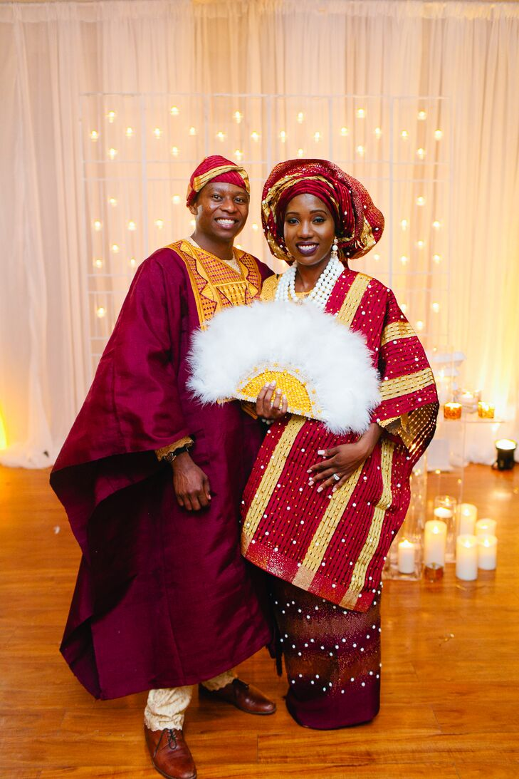Burgundy And Gold Nigerian Wedding Attire