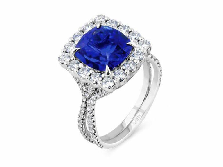 cushion-cut sapphire engagement ring