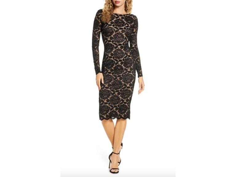 Black long sleeve lace midi dress