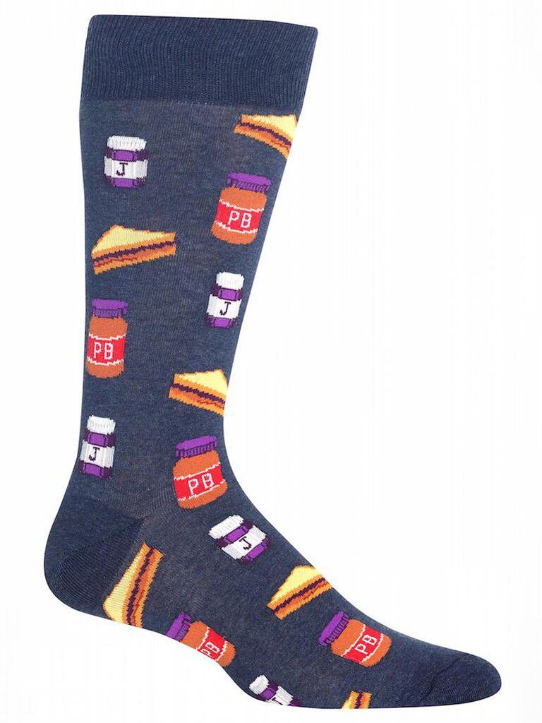 Peanut butter jelly groomsmen socks