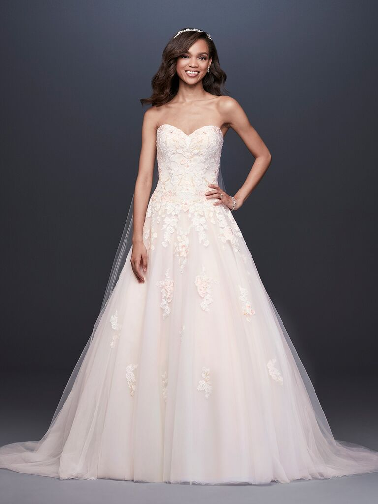 David's Bridal Spring 2019 strapless lace wedding dress with a blush tulle skirt