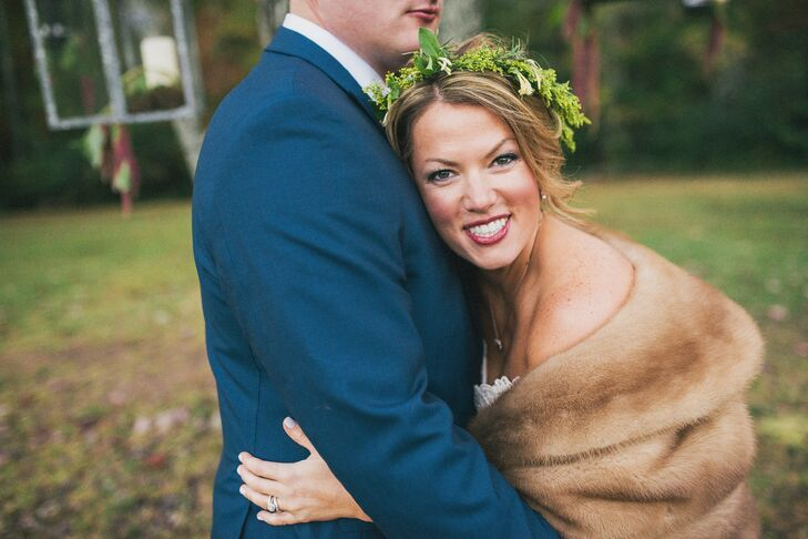 Kelley's sorority sister Julia created the bride's bohemian look for her hair and makeup. She wore it up in a messy knot with the flower crown on top. Her makeup was simple but with cranberry lipstick from Bobbi Brown.