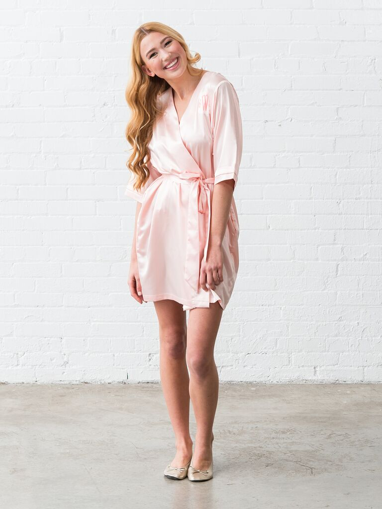 Satin blush bridesmaid robe