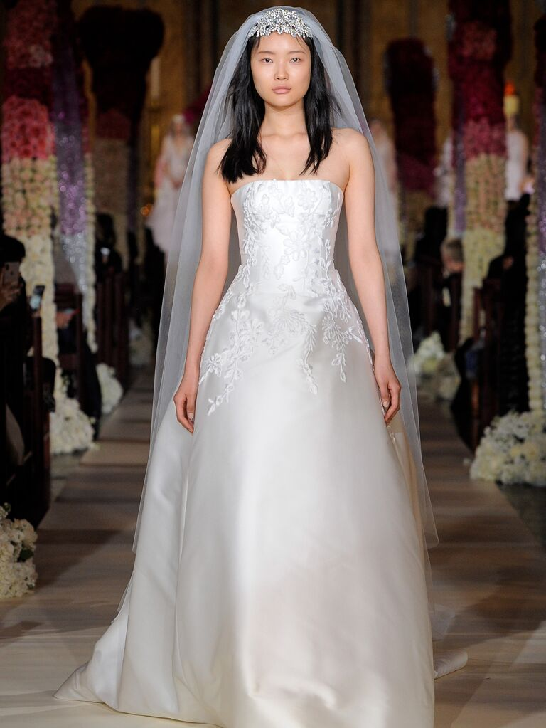 Reem Acra Spring 2020 Bridal Collection strapless embroidered A-line wedding dress