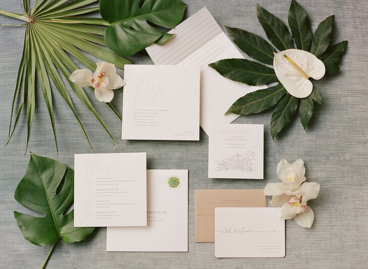 Tropical Invitations for Wedding at Pippin Hill in Charlottesville, Virginia