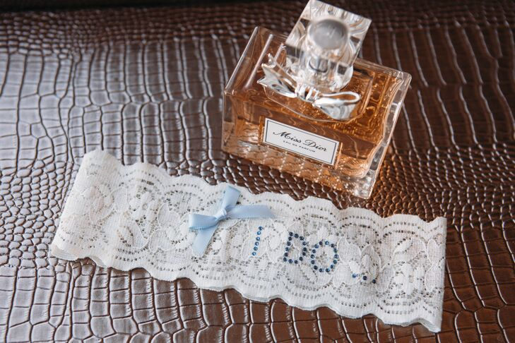 Personalized Lace Garter with Custom Blue Embroidery