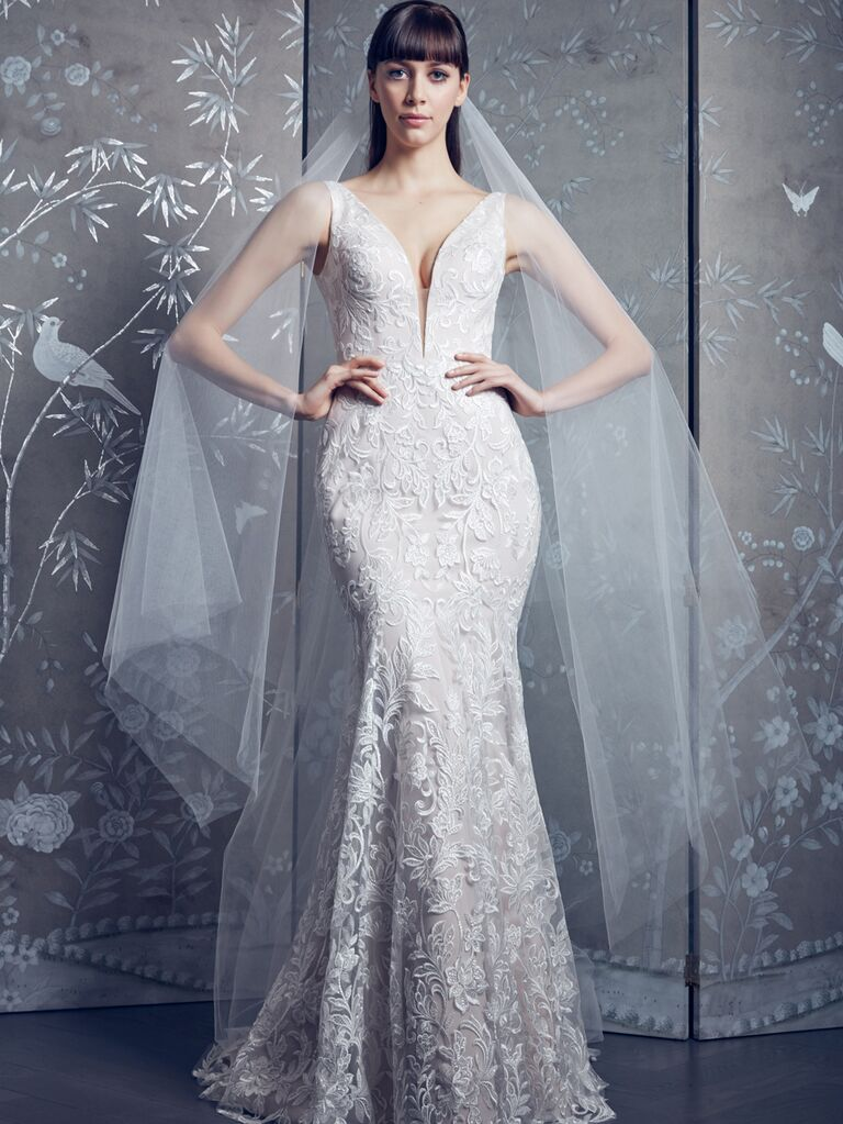 Legends by Romona Keveza Spring 2020 Bridal Collection embroidered fit-and-flare wedding dress with illusion neckline