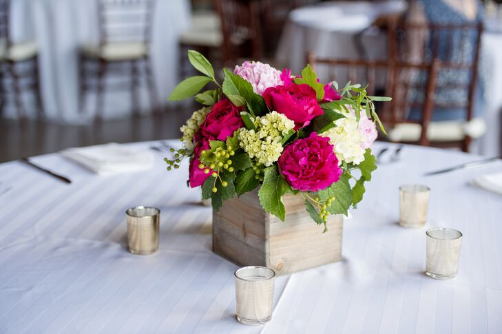Fuchsia Peonies and Candle Votives