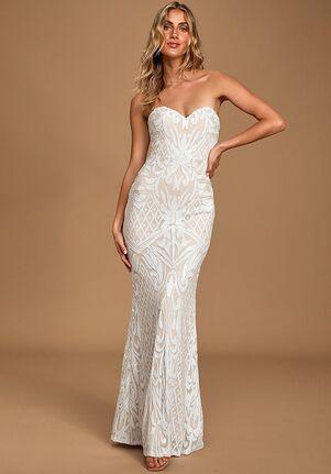 Lulus Olivia White Sequin Strapless Maxi Dress Mermaid Wedding Dress