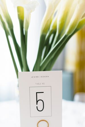 Modern Table Numbers With Calla Lilies