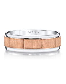 MARS Fine Jewelry MARS Jewelry G101 Men's Band Rose Gold, White Gold Wedding Ring