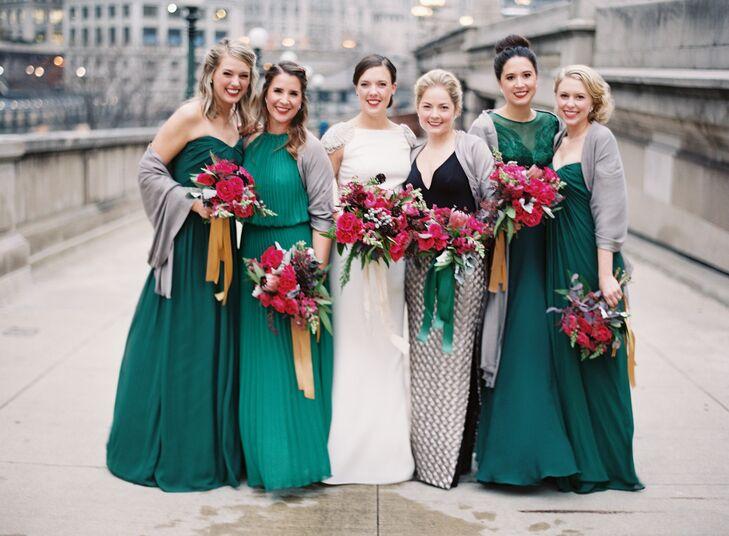 Mismatched Emerald Floor-Length Bridesmaid Dresses
