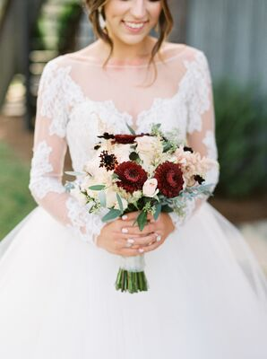 Blush and Burgundy Dahlia Bouquet