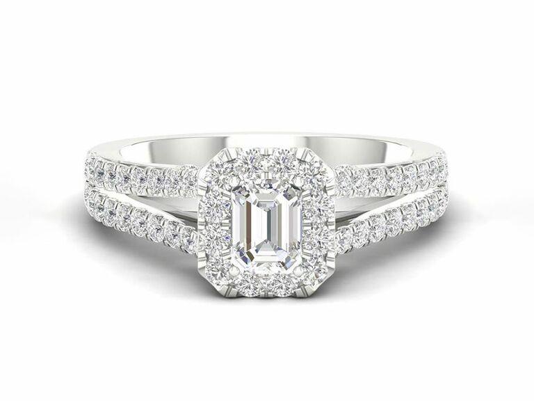 Jenny Packham emerald cut diamond engagement ring with halo and split shank diamond pave setting