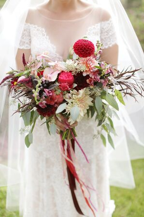 Ribbon-Wrapped Dahlia and Eucalyptus Bouquet