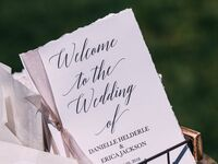 Wedding Ceremony Programs displayed in basket outside