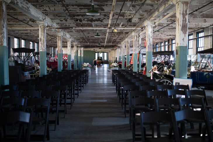 """The bride chose the historic space after seeing the venue featured in yet another wedding on TheKnot.com. """"I called the same day and booked it,"""" she explains."""