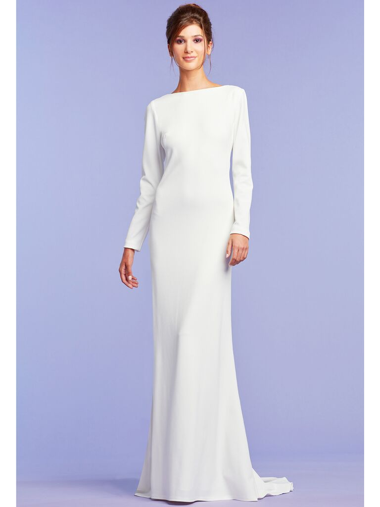 Long sleeve column dress with plunging back and draped fabric