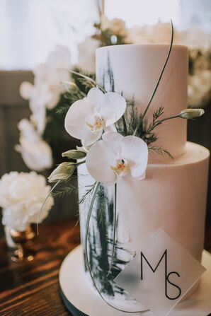 Modern Tiered Fondant Wedding Cake with Orchids