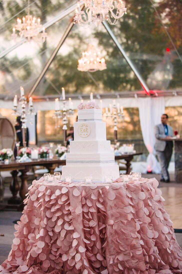 Elegant Square Tiered Wedding Cake with Monogram