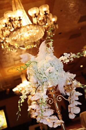 Cascading Orchid, Hydrangea and Feather Centerpiece