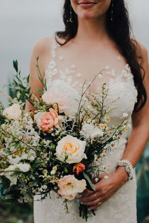Romantic Bouquet with Wildflowers and Roses