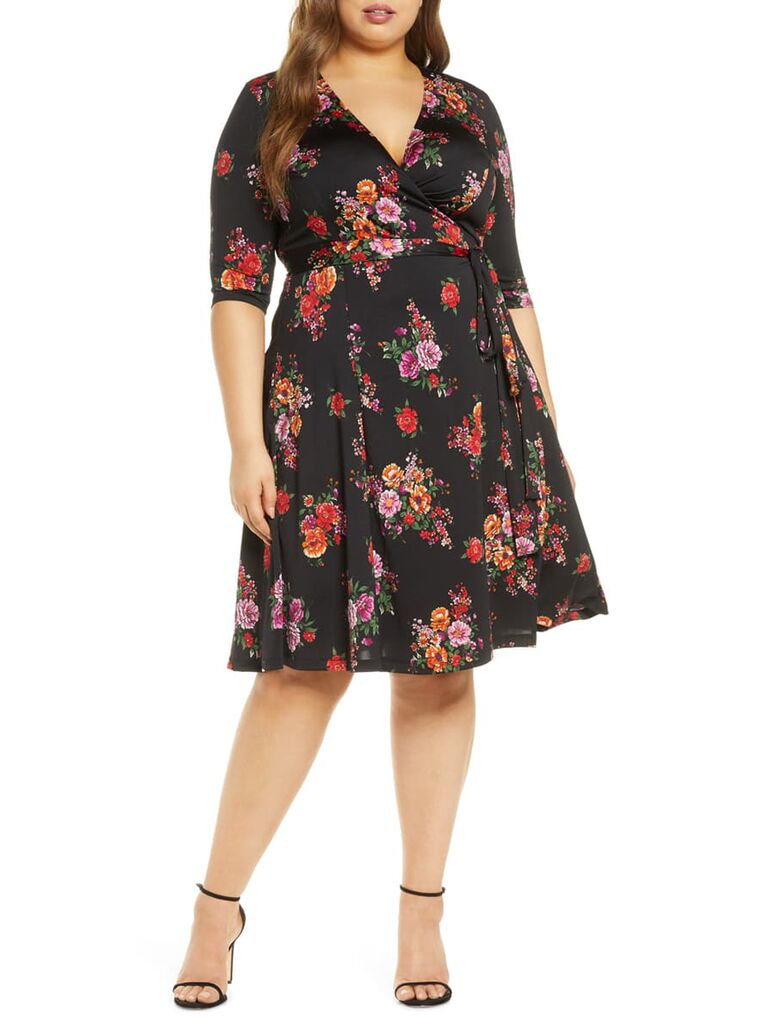 Black and red floral wrap dress