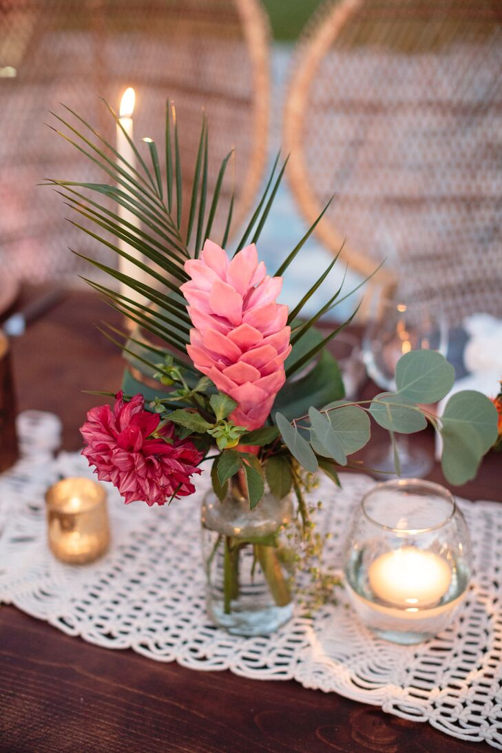 Tropical Pink Flower, Palm and Eucalyptus Centerpiece