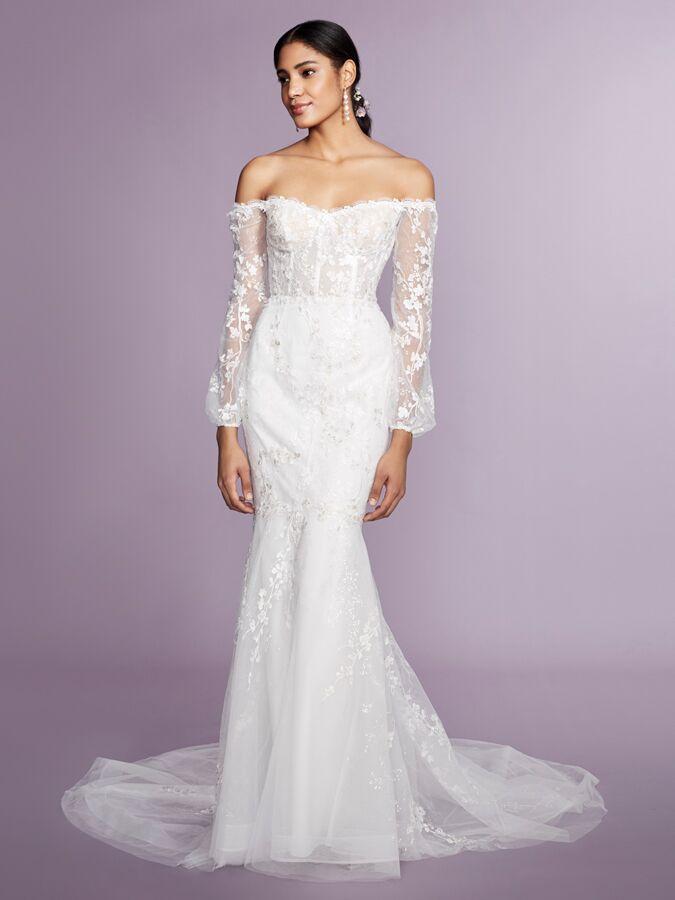 Marchesa Notte off-the-shoulder long sleeve wedding dress
