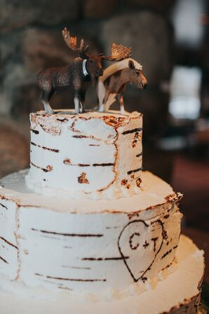 Rustic, Birch-Inspired Cake with Moose Cake Topper