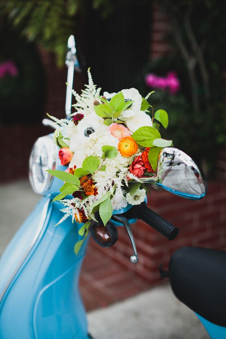 Colorful Flower Arrangement on Moped