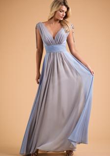 B2 blue and beige chiffon v-neck bridesmaid dress