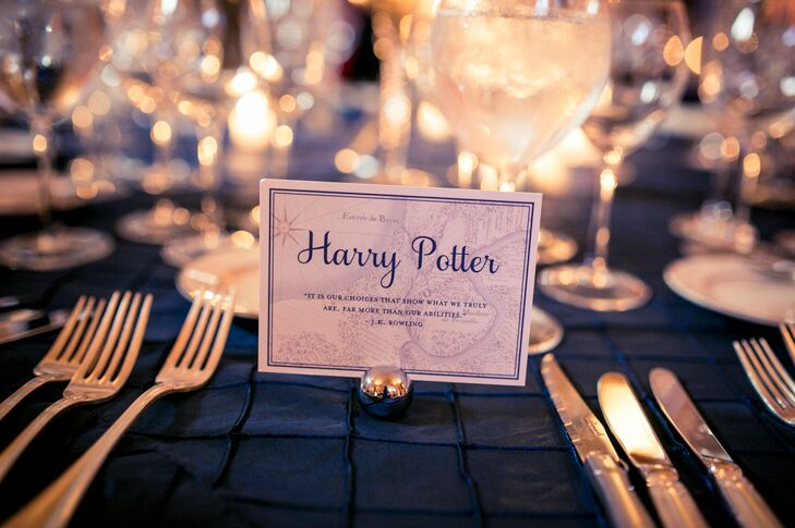 """Their programs weren't the only things inspired by Kendra and Adam's childhood. Each table name acknowledged one of their favorite books. """"Charlotte's Web,"""" """"Harry Potter,"""" """"Lord of the Rings"""" and """"Brave New World"""" all made the cut. Each card had a quote in case guests needed a little reminder of the plot."""