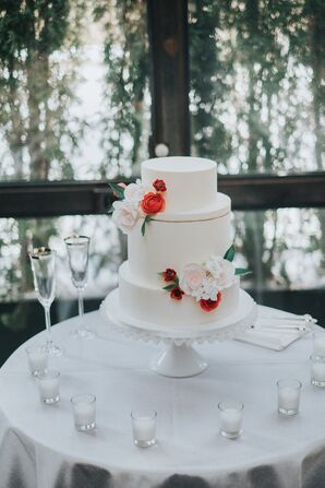 Simple Tiered Cake with Elegant Floral Accents