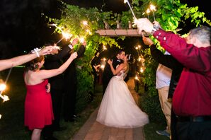 Leafy-Green Vineyard Arch for Sparkler Exit