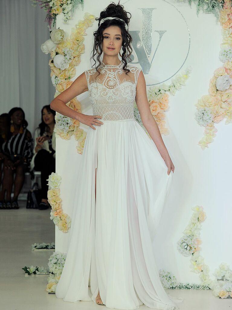 Julie Vino Fall 2018 sleeveless wedding dress with beaded illusion bodice