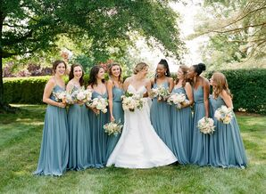 Long, Dusty Blue Bridesmaids Dresses at Wedding in Charlottesville, Virginia