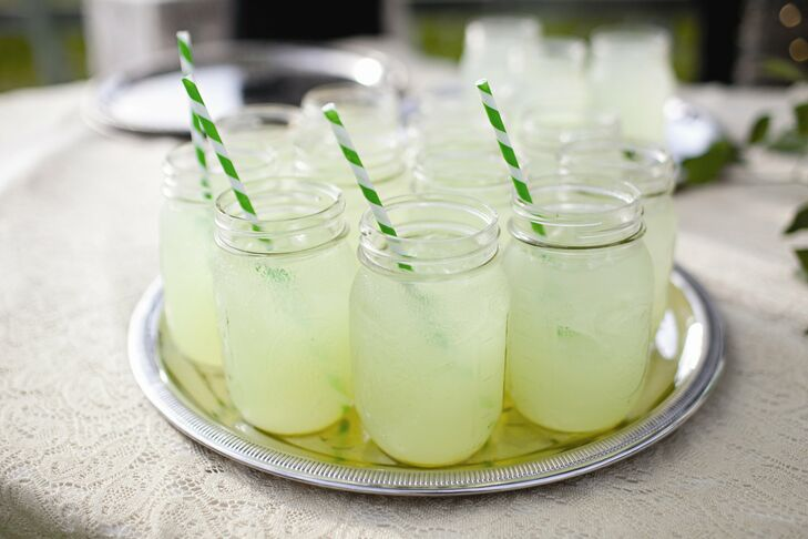 Green-striped straws complemented the pastel Hendricks cocktails made with cucumber and soda.