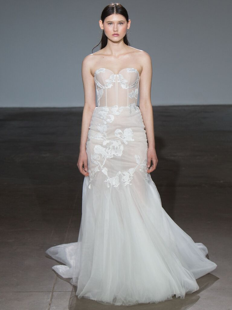 Adam Zohar Spring 2019 Collection sheer strapless fit-and-flare wedding dress with tulle skirt
