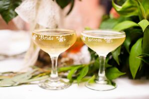 Engraved 'Bride and Groom' Champagne Coupe's
