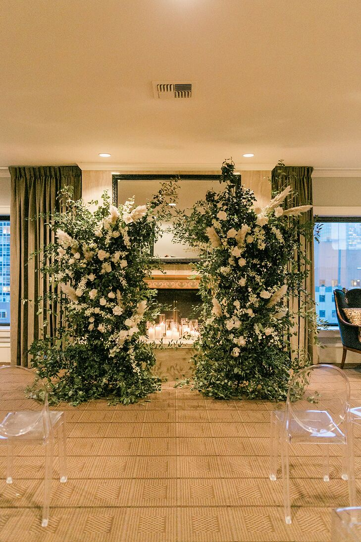 Luxe Wedding Arch with White Flowers and Greenery
