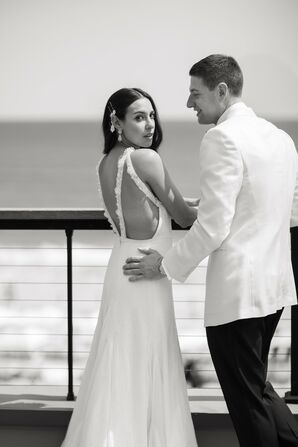 Modern Couple with A-Line Wedding Dress and White Suit Jacket