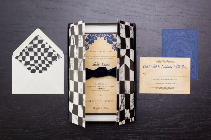 "MLC Designs took the reigns of Kelly and Richard's stationery, transforming their vision for their wacky and wonderful affair to the next level with stunning antiqued parchment, fancy flourishes, script font and playful black-and-white checkered detailing. The invitations were accented with navy ribbon and sealed in a box. ""The guests were definitely surprised and everyone complimented them,"" says Kelly."